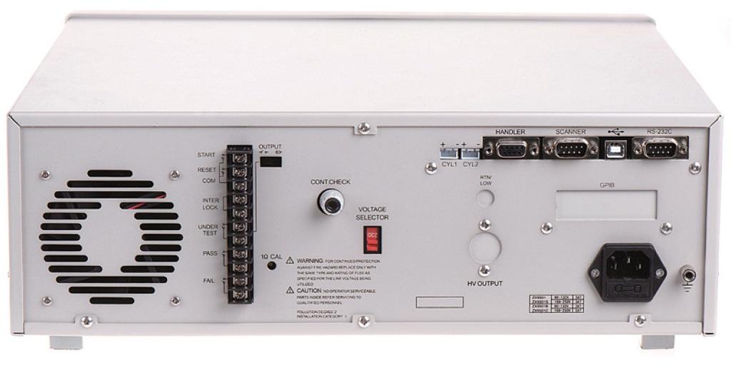 具有丰富接口的致新ZX9501S绝缘耐压测试仪后面板